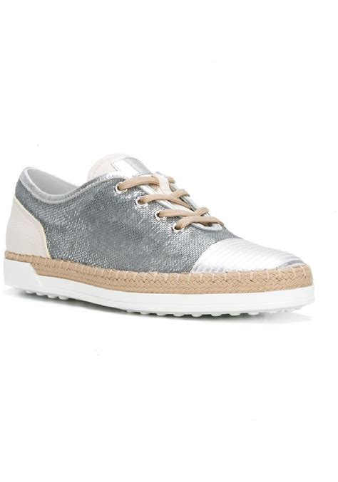 silver sequin sneakers tod s s sneakers in silver sequins and leather