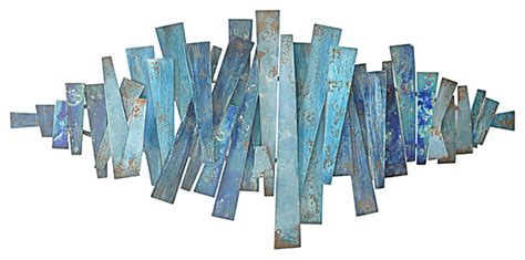 Three Hands Abstract Strips Metal Wall Decor, Blues