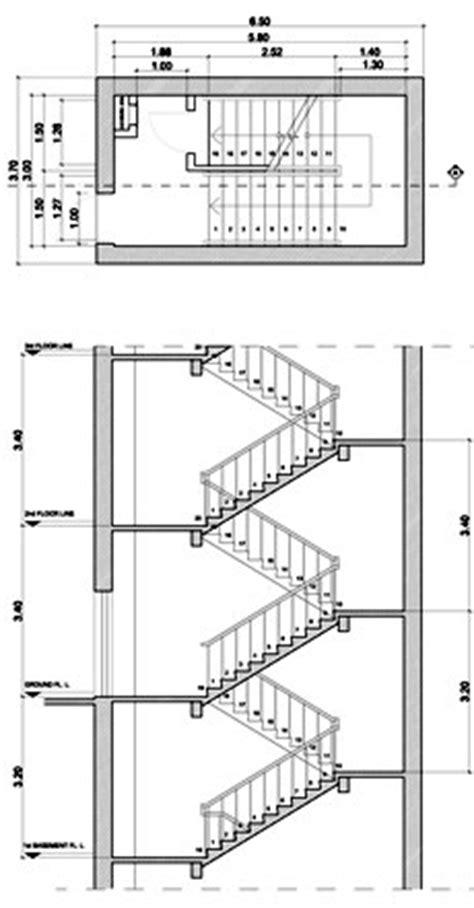scale interne dwg sezioni di scala in cemento armato
