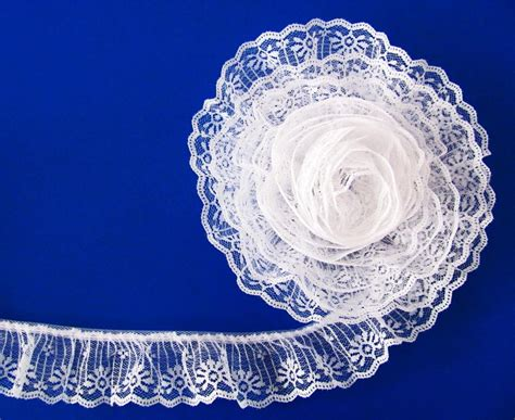 rufflish white 2 white 2 inch wide ruffled candlewick lace trim by 5 yards