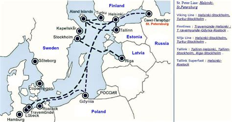 boat shipping map by ferry to st petersburg russia