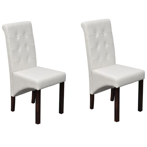 White And Wood Dining Chairs Vidaxl Co Uk 2 Pcs Artificial Leather Wood White Dining Chair