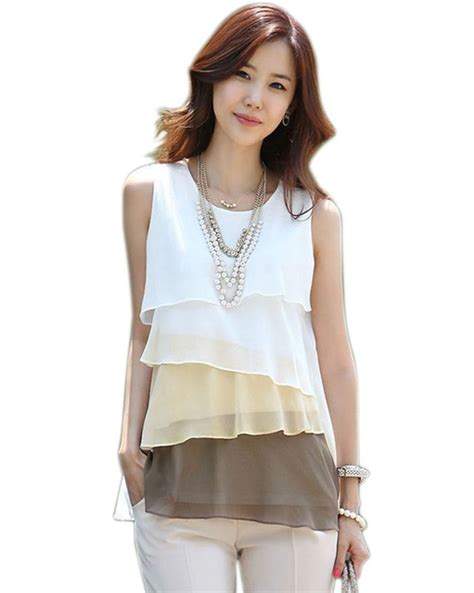 Sale Casual Top Model Neck Size L Best Seller Murah 17527 2017 new fashion casual style blouses s multi layered sleeveless vest chiffon shirts