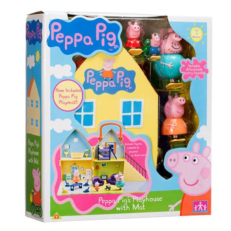 Peppa Pig Peppa Pig S Playhouse With Figures Daddy Mummy Play Mat Boxed Ebay