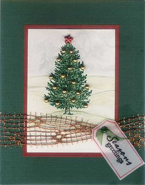 embossed christmas tree cards embellished with beads