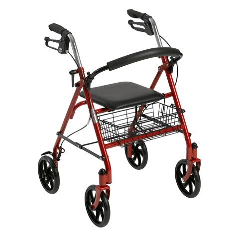 walker houston four wheel walker rollator with fold up removable back