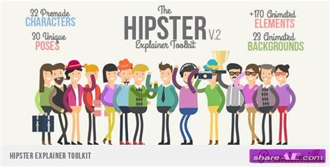 Videohive Hipster Explainer Toolkit After Effects Project 187 Free After Effects Templates Explainer Templates After Effects