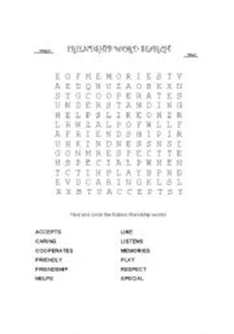 printable word search about friendship english worksheets friendship word search