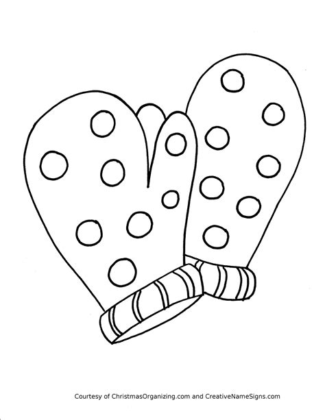 Mittens Coloring Pages Winter Clothes Crafts And  sketch template