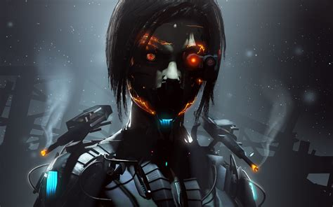 robot wallpaper girl robot cyborg orange eyes dark wallpapersbyte com