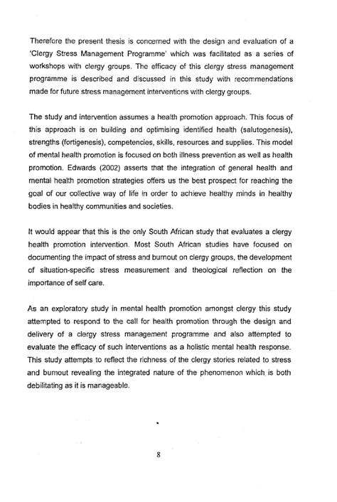 Health Promotion Coordinator Cover Letter Evaluation Of A Clergy Stress Management Stanley Arumugam