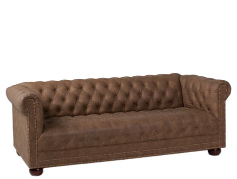 78 Quot W X 35 Quot D Faux Brown Suede Chesterfield Sofa Sof012007 Suede Chesterfield Sofa