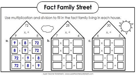 Fact Families Worksheets by Fact Families Multiplication And Division Search Results