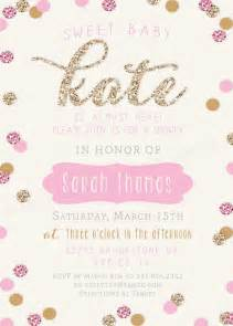 baby shower invitation gold and pink sparkle glitter invitation wording and