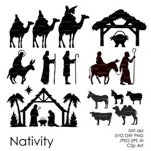 nativity silhouette template nativity silhouette overlays vector digital clipart