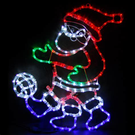 football santa animated colour led rope light christmas