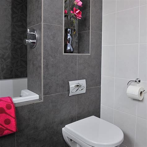 grey and pink bathroom bathroom with grey tiles and pink accents bathroom