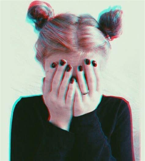 two buns hair tumblr alternative black dark girl grunge hair nails pink
