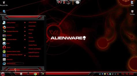 themes zero windows 7 theme blue green and red alienware skin pack