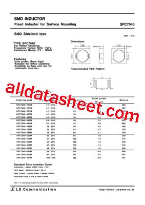 inductor in pdf spc7040 데이터시트 pdf list of unclassifed manufacturers