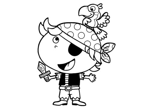 pirate boy coloring page boy pirate with parrot coloring page coloringcrew com