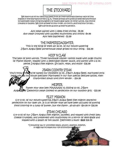 J Barn Restaurant Menu menu of j barn country inn restaurant sarver