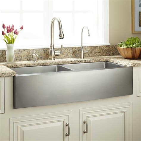 39 quot optimum double bowl stainless steel farmhouse sink curved apron