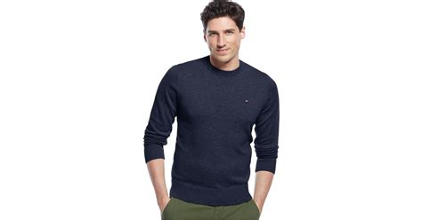 Jaket Sweater F 21 Navy 1 hilfiger signature solid crew neck sweater in blue for lyst