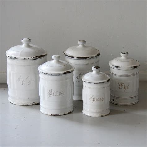 enamel kitchen canisters french enamel canister set by sundaybrocantes on etsy