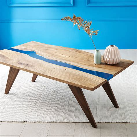 river resin elm coffee table on walnut base by frances bradley   notonthehighstreet.com