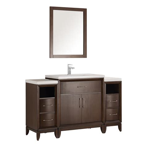 Ceramic Vanity by Fresca Cambridge 54 In Vanity In Antique Coffee With