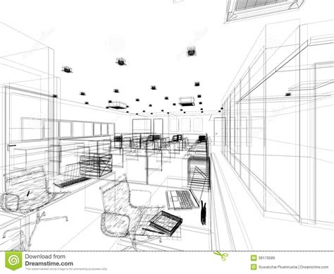 how to sketch a room layout sketch design of interior office stock illustration