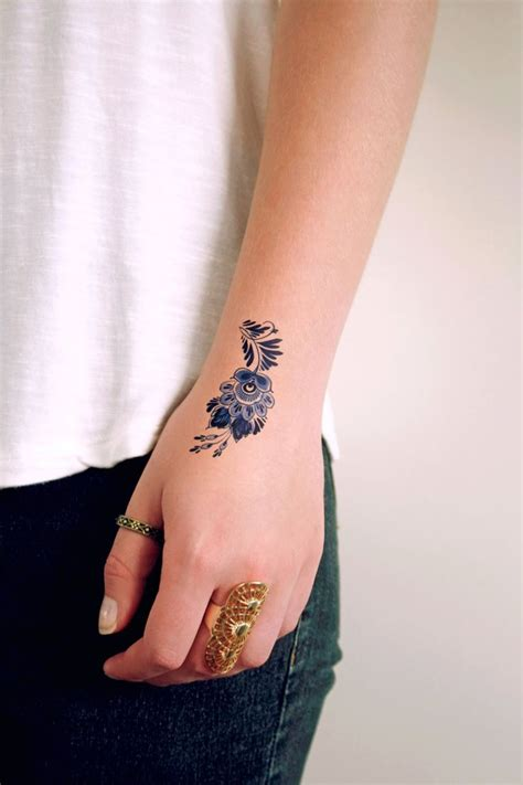 blue henna tattoo delft blue flower temporary delft blue temporary