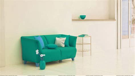 green sofa near rack and white background wallpaper