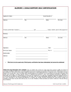 child support receipt template certification of child support alimony fill