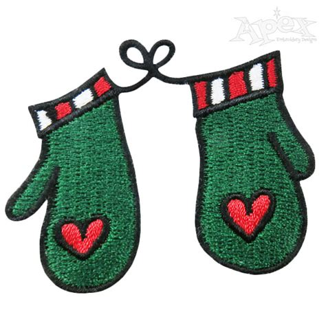 design embroidered gloves mittens christmas embroidery design gloves