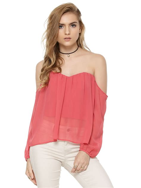 Top Five Bandeau Tops by Buy Cold Shoulder Sheer Bustier Top For S