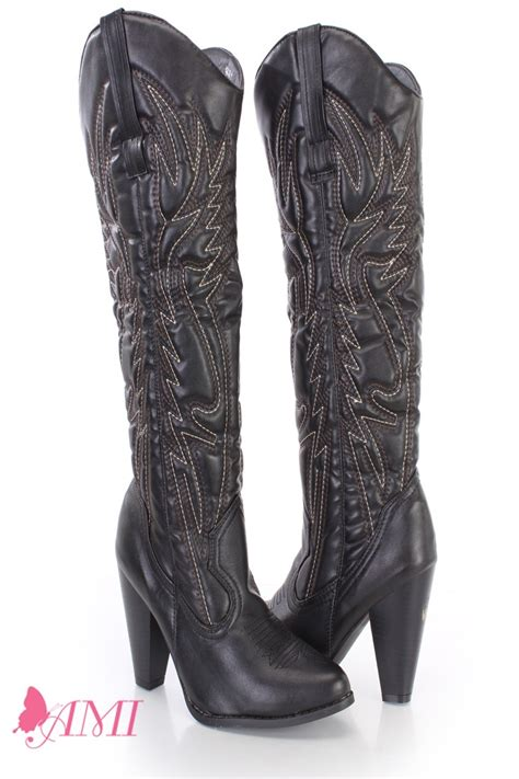 black stitched knee high cowboy boots faux leather
