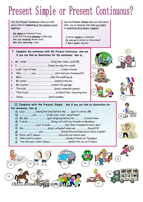 pattern for present continuous tense present simple or continuous english tenses pinterest