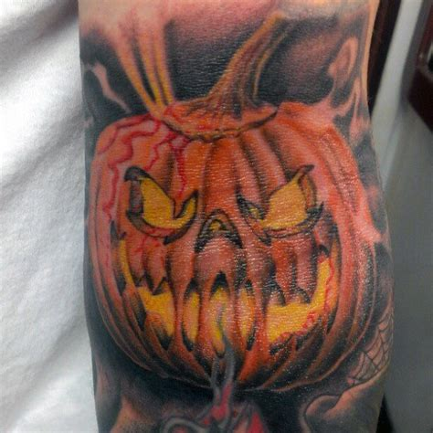 jack o lantern tattoo 60 pumpkin tattoos for o lantern design ideas