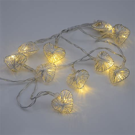 10 silver heart shape white fairy lights string christmas