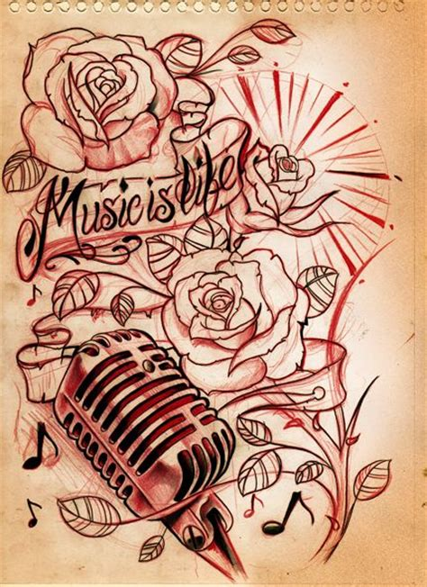 music is life tattoo designs is mic idea