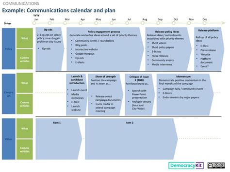 Exle Communications Calendar And Plan Civic Caign Resource By Connor Bays Communications Calendar Template