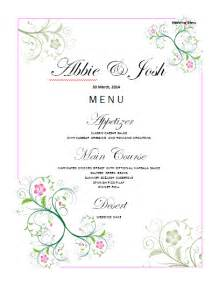 Wedding Menu Template by Ms Word Wedding Cake Ideas And Designs