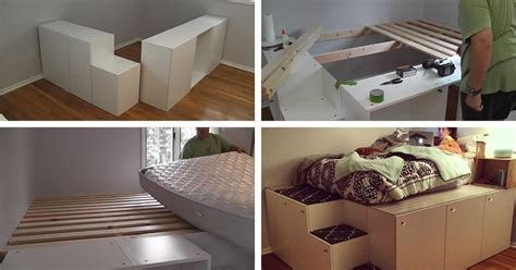 ikea cabinet bed father cleverly hacks ikea sketion cabinets into platform bed