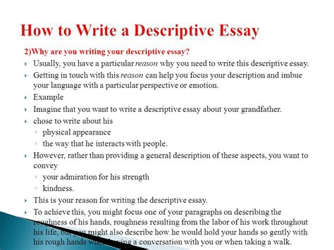 How To Write Descriptive Essay About A Person by Descriptive Writing Ppt