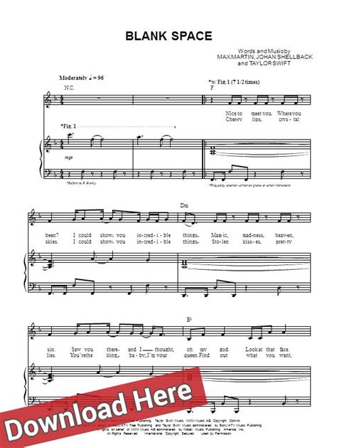 taylor swift chord blank space taylor swift blank space sheet music piano guitar chords