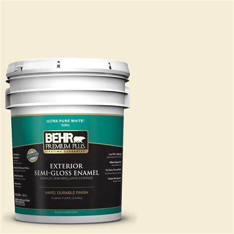 5 gallon white exterior paint behr premium plus 5 gal w b 320 white corn semi gloss