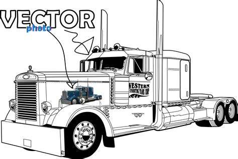 trucks drawings peterbilt 379 truck clipart clipart kid semi truck