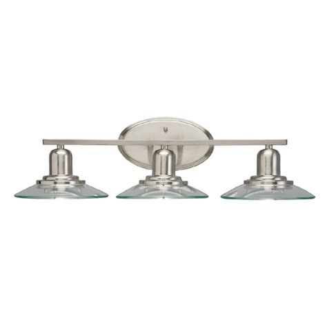 Brushed Nickel Bathroom Light Fixtures Shop Allen Roth 3 Light Galileo Brushed Nickel Bathroom Vanity Light At Lowes